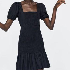NWT Zara Stretchy Elasticized Frock Dress Black
